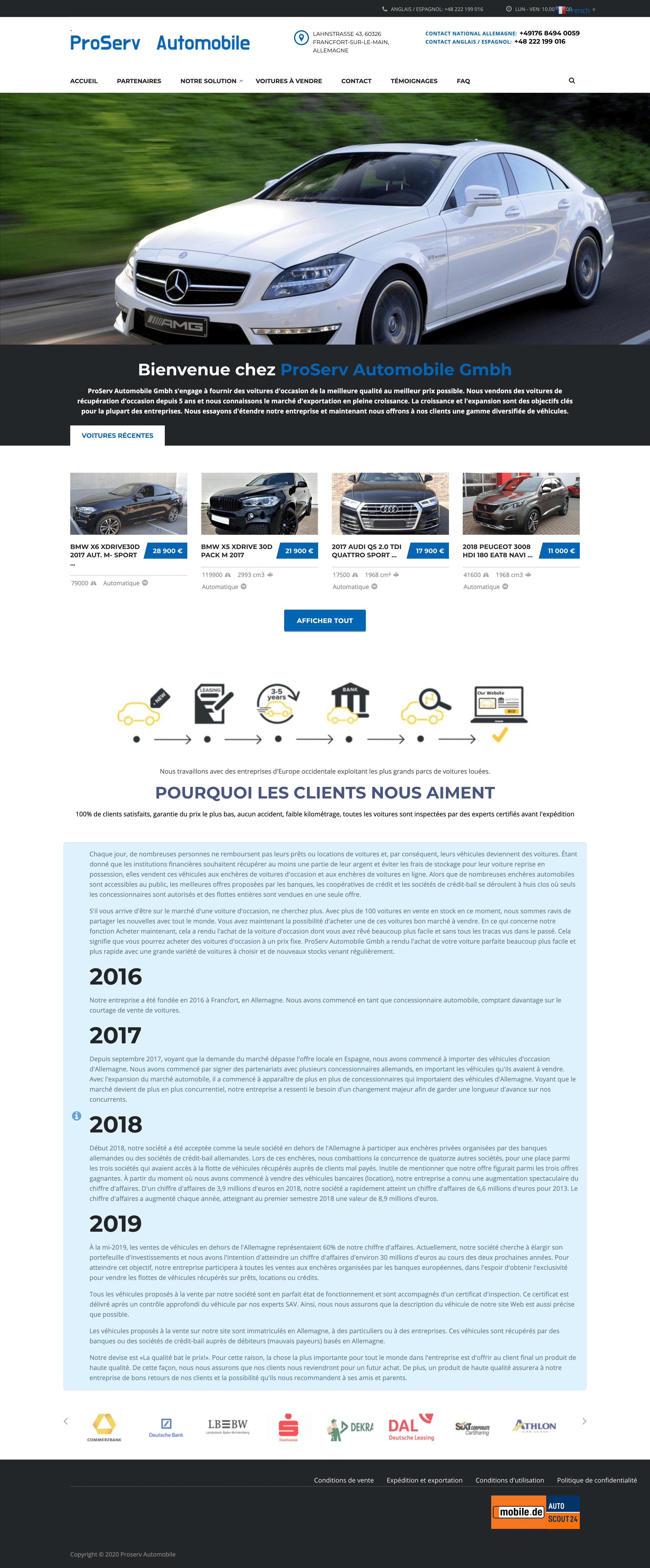 site arnaque auto vendeur importateur