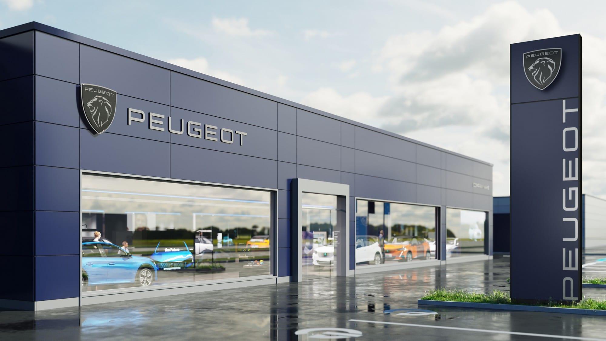 Façade concession nouveau logo Peugeot 2021