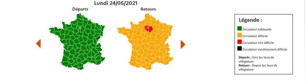 Circulation Bison Futé lundi 24 mai