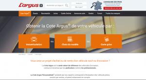 Site L'argus : Calculer sa cote auto