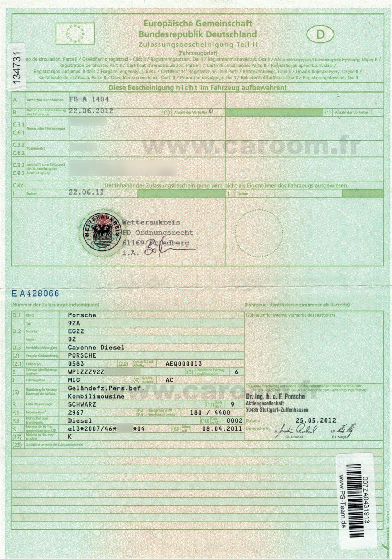 Certificat d'immatriculation d'un véhicule allemand sur lequel figurent les champs K et D2